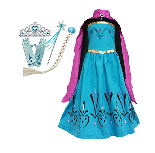 Frozen ELSA Coronation Dress + Elsa Cape + Tiara Crown + Gloves + Snowflake Wand + Braid Wig Girls Dress-up Set (7-8 Years, Blue-Pink)]()