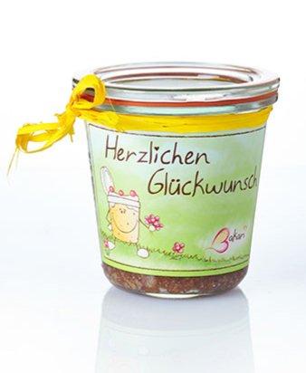 Fertig Gebackener Bakari Schokoladen Kuchen Im Glas Schoko Geschenk