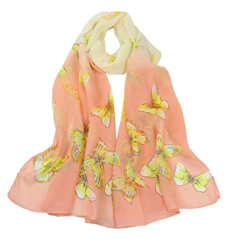 Women's Polyester Chiffon Scarf Neck Fashionable Printing Floral Country Style Lightweight scarves for Ladies and Girls (008)