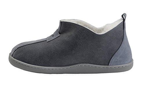 Herren Damen Lammfell Hausschuhe echtleder Gefuttert Wolle Pantoffeln Schlappen Schuhe Grau / Weiß