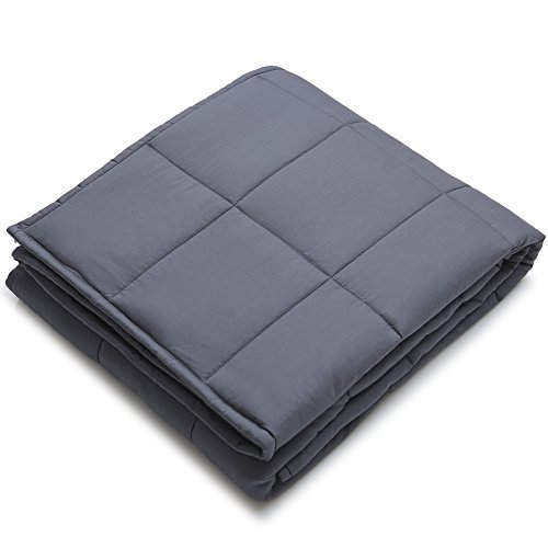 Image of YnM Weighted Blanket (15 lbs, 48''x72'', Twin Size) for People Weigh Around 140lbs | 2.0 Cozy Heavy Blanket | 100% Oeko-Tex Certified Cotton Material with Premium Glass Beads, Dark Grey YnM B073429DV2 Weighted Blankets