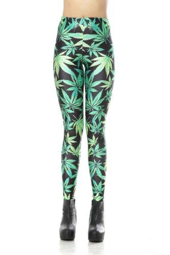 LoveLiness Green Marijuana Leaf Digital Print Leggings