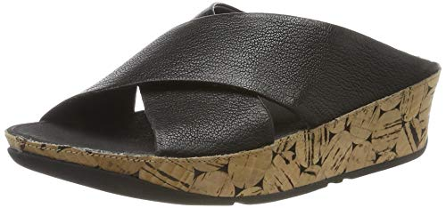 FitFlop Women's KYS Leather Dress Sandal, All Black Leather/Cork, 6 M US ()