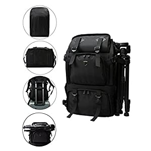 """BAGSMART Anti-theft Professional Gear Backpack for SLR/DSLR Cameras & 15"""" Macbook Pro with Waterproof Rain Cover, Black"""