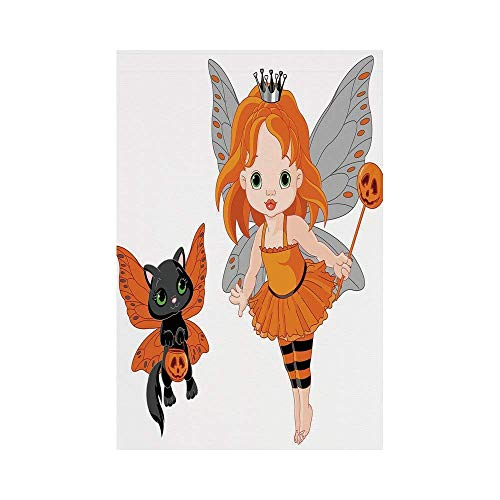 Polyester Garden Flag Outdoor Flag House Flag Banner,Halloween,Halloween Baby Fairy and Her Cat in Costumes Butterflies Girls Kids Room Decor Decorative,Multicolor,for Wedding Anniversary Home Outdoor -