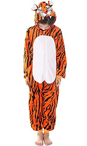 Kids Unisex Cosplay Pajamas Onesie Tiger Costume for Size 9 Size 10 Size 11,Tiger,9-11 Years Old -