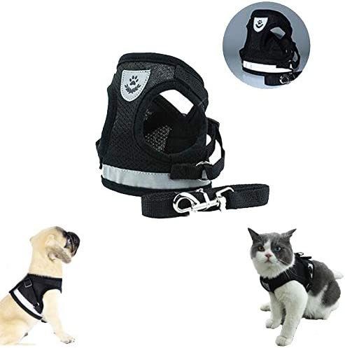 Feimax Dog Harness and Leash Set No Pull Reflective Adjustable Pet Vest Harness for Puppy Kitten Breathable Soft Mesh Fabric Escape Proof Cat Jacket Easy Control for Outdoor Walking Training