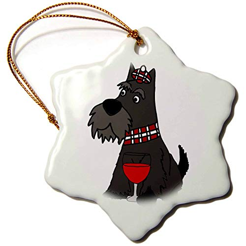 3dRose All Smiles Art - Pets - Cute Funny Scottish Terrier Puppy Dog Drinking Wine - 3 inch Snowflake Porcelain Ornament (ORN_292504_1)