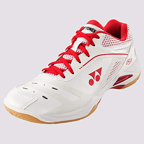 YONEX 65Z Ladies Badminton Shoes (7), White and High Red
