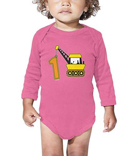 One Crane - 1 Construction Site Long Sleeve Bodysuit (Pink, 18 Months)