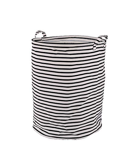 Seafowl Waterpoor Laundry Basket Sundries Cotton&Linten Collapsible Foldable Cotton Storage Basket-Round Gift Basket with Handles for Toys (Black and White Stripes) 19.7