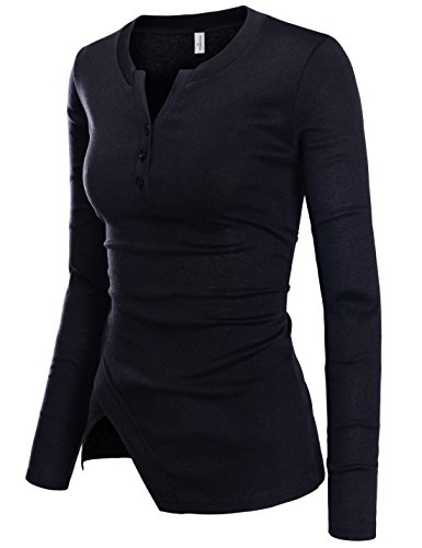 NEARKIN (NKNKWBT70) Womens Vneck Slim Cut Henley Long Sleeve City Casual Tshirts BLACK US XXS(Tag size XS) (Black Ladies Henley T-shirt)