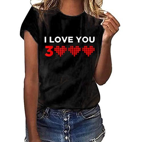 AopnHQ Women's I Love You 3 Heart Print Short Sleeve/Girls Fashion New T-Shirt Tees^Womens Joker Slim Fit Tops Blouse Black