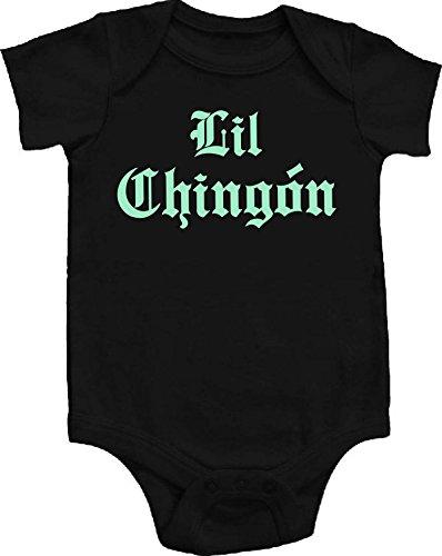 - Chamuco Customs Lil Chingon Spanish Badass Funny Baby Onepiece Bodysuit Unisex Gift Regalo Black (0-3 Months (Newborn), Sweet Mint Font)