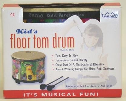 Bongo 5 String Bass - Remo Kid's Percussion Floor Tom Drum with Mallets in Rainforest Design (Age 5+)