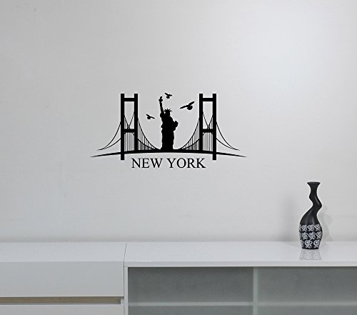 New York City Skyline Wall Sticker American Metropolis NYC Silhouette Vinyl Decal Art Decorations for Home Room Bedroom Office Decor Ideas ny2 ()