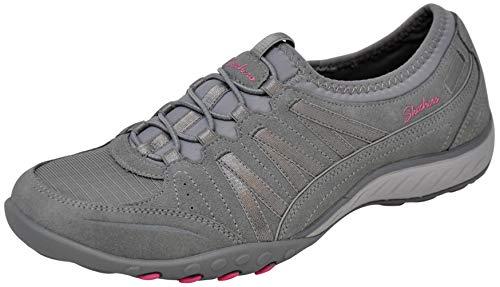 Skechers Sport Women's Relaxation Breathe Easy Moneybags Sneaker, Light Grey/Pink, 10 M US