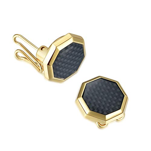 BUTTONCUFF Designer Men's Button Covers - Imitation Cuff Links Tuxedo, Business Formal Shirts (G-08)