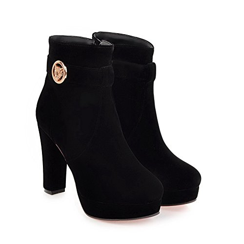 BalaMasa Womens Dress Platform Slip-Resistant Suede Boots ABL10410 Black ljO4nU07