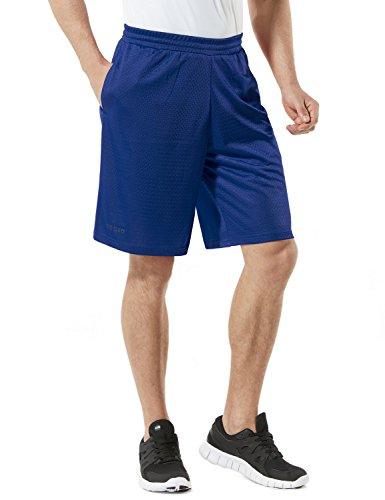 TSLA Men's HyperDri Cool Quick-Dry Active Lightweight Workout Performance Shorts, Hyper Dri Mesh(mbs02) - Blue, Small (Blue Basketball Shorts)