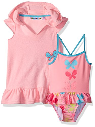 Cover Cotton Butterfly Up - Wippette Girls INF Coverup Set with Butterflies, Cotton Candy, 24M