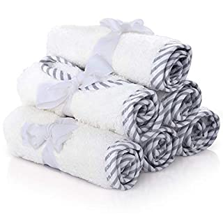 San Francisco Baby Premium Baby Washcloths – 100% Bamboo Baby Washcloth Set of 6 – Ultra Soft and Absorbent Baby Towels for Boys and Girls – Cute for Baby Boy or Girl