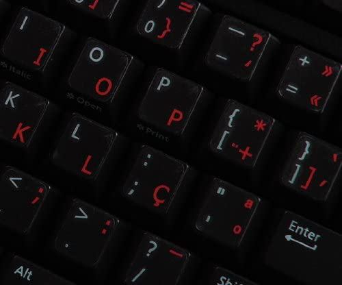 PORTUGUESE KEYBOARD STICKER WITH RED LETTERING ON TRANSPARENT BACKGROUND