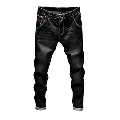 Stretch Denim Pants Solid Slim Fit Jeans Men Casual Biker Denim Jeans Male Street Hip Hop Vintage Trouser Skinny Pant,Black,31