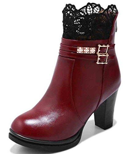 Easemax Kvinna Elegant Spets Rund Tå Tillbaka Blixtlås Plattform Höga Chunky Klack Boots Djupröd