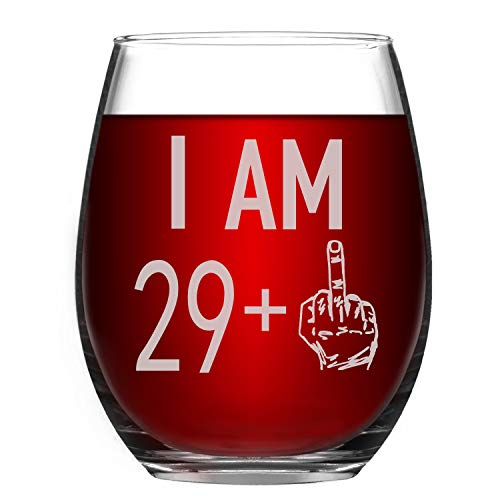 29 + One Middle Finger Wine Glass 30th Birthday Gift Funny Stemless Wine Glasses for Men and Women Turning 30 Personalized Bday Glasses Gift Idea Wine Cup 15oz Capacity Party Decoration (30th, 15oz)