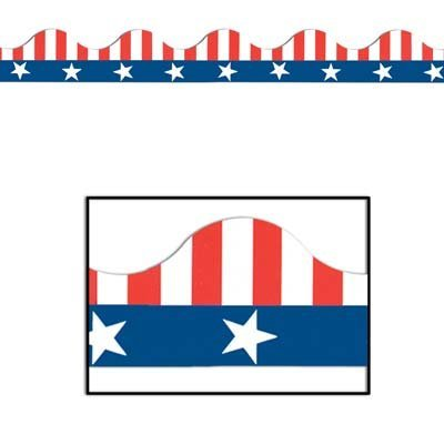Patriotic Border Trim (stars & stripes design) Party Accessory  (1 count) (Red White Blue Border)
