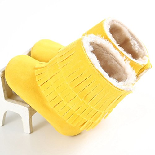 ESHOO infantil bebé niño Niña zapatos suave antideslizante botas de nieve invierno cálido borla rojo rosso Talla:6-12 meses amarillo
