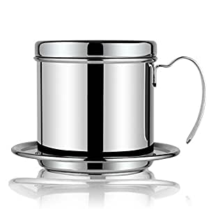 Coffee Maker Pot, Stainless Steel Vietnamese Coffee Drip Filter Maker Single Cup Coffee Drip Brewer - Portable for Home Kitchen Office Outdoor Use - Best Gift Choice for Baristas and Coffee Lovers