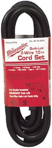 Pwr Tool Cord, 1-15P, 10 ft, 13A, 16/2, 125V