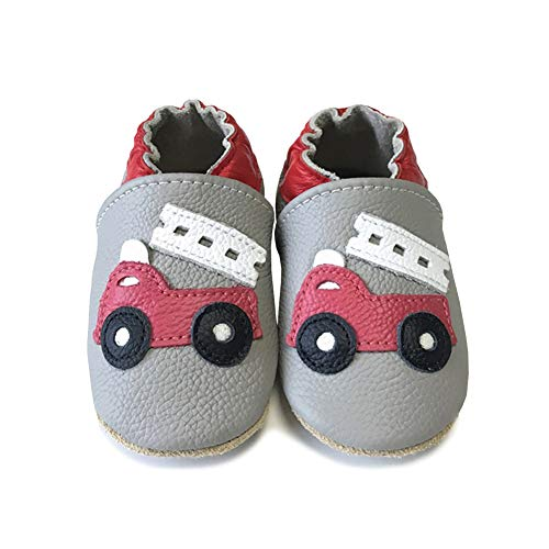 LPATTERN Baby Boys/Girls Soft Leather First Walking Shoes Baby Infant & Toddler Shoes, Red Fire Truck, 18-24 Months(Label: XL)