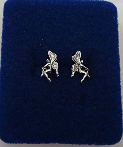 Sterling Silver TINY 10x8mm 3D Tinkerbell type Fairy Stud Studs Earrings