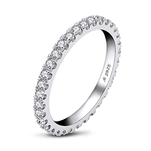 Erllo 1.5mm Full Eternity Bands for Women 925 Sterling Silver Micropave Cubic Zirconia Ring (White Gold Color, 6) (Platinum Wedding Band 2mm)