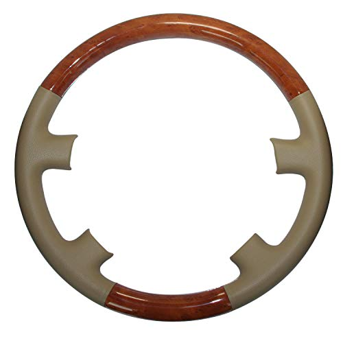 (Pursuestar Tan Leather Brown Wood Steering Wheel Protector Cover for Toyota Land Cruiser 1998-2002 FJ100 4700 4500 Lexus LX470 LX450 LS400 )