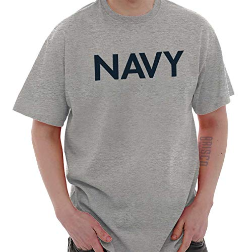 (Navy USA Military American PT Army Marines Veteran Soldier T-Shirt Tee, Sport Grey, Large)