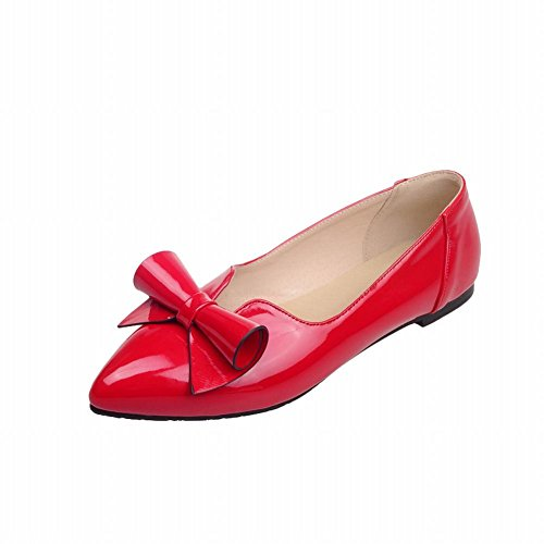Carolbar women's pointed toe elegance chic patent leather bows sweet sexy flats shoes (9, Red) (Shoes Sexy Patent Red)