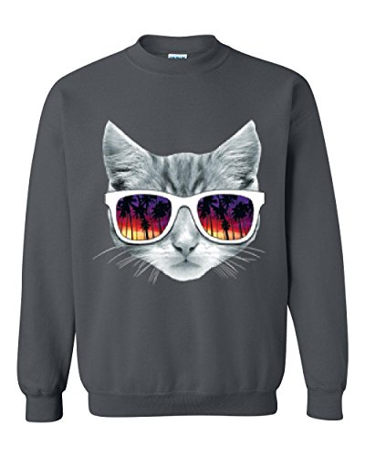 Novelty Sweatshirt Kitty With Sunglasses Love Pets Cat Lovers Gift Unisex Crewneck - Babies For Sunglasses Bad Are
