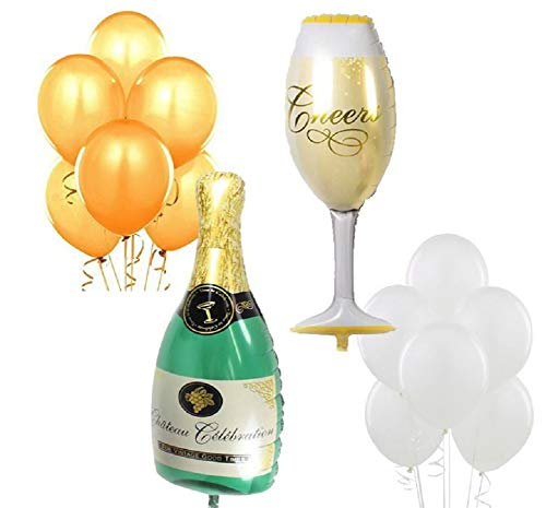 XL Wine Glass & Champagne Balloon - Gold & Ivory Latex Party Balloons - Wedding Birthday Retirement Anniversary Graduation - New Years Eve Job Promotion Decorations by Jolly Jon ®