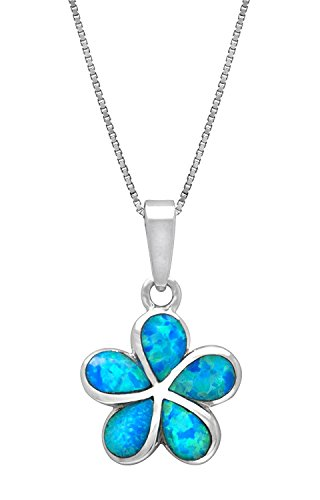 15 Pendant Plumeria Mm (Sterling Silver Created Blue Opal Plumeria Flower Necklace Pendant with 18