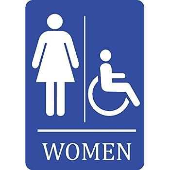 women handicap accessible bathroom blue sign woman restroom 12x18 signs plastic single - Handicap Bathroom Signs