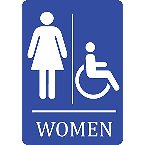 2 pack womens handicap accessible bathroom blue sign plastic - Womens Bathroom Sign