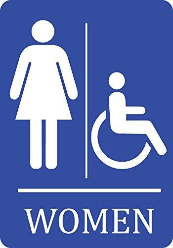 Womens Handicap Accessible Bathroom Blue Sign - Aluminum Metal -