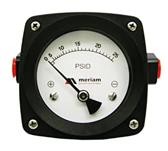 "Meriam 200 Series 316 Stainless Steel Piston Gauge with Buna-N Seal, 0-10 psid Range, 4.5"" Dial, +/- 2% Accuracy, 1/4"" NPT Female Connection"