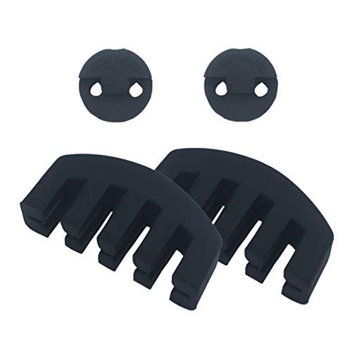 Amgate 4 PCS Rubber Violin Practice Mute Set, Included 2 PCS Claw Style & 2 PCS Round Tourte Style, Black (Mute Violin Practice)