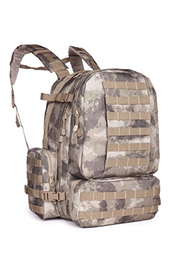 ARMYCAMOUSA 50-60 L Sport Outdoor Military Rucksacks Tactical Molle Backpack Camping Hiking Trekking Assault 3-Days Backpack Bag 08007 (Dark Brown Atacs)