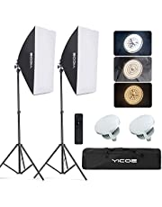 YICOE Softbox Lighting Kit Photography Photo Studio Equipment Continuous Lighting System with 5700K Energy Saving Light Bulb for Portraits Fashion, Advertising Photo Shooting YouTube Video